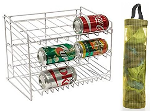 Stackable Can Rack Organizer and Plastic Bag Organizer by Home Best Products