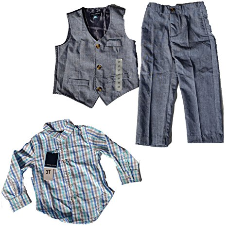 Andy & Evan Baby Boys' 3 Piece Set - Blue Check Shirt, Pant, Vest - 3T by Andy & Evan