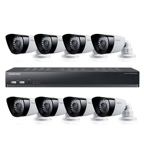 Samsung SDS-P5080N 16 Channel DVR Security System 1 TB HDD 8 Box Cameras