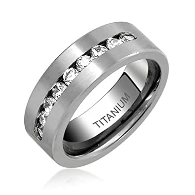 644cb556bb Image Unavailable. Image not available for. Color: Bling Jewelry Channel  Set CZ Mens Titanium Cubic Zirconia Wedding Band Promise Ring Polished  Finish 8mm