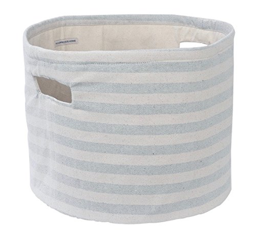 Environmentally Friendly Fabric (Cotton Denim Storage Basket | Round - Striped | Handcrafted Baskets, Upcycled Environmentally Friendly Fabric | For Toys, Laundry, Books | 15x10x9.5 in)