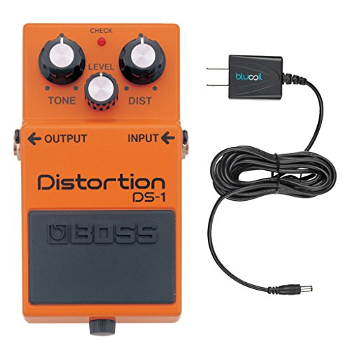 Boss DS-1 Distortion Guitar Effects Pedal – INCLUDES – Blucoil Power Supply Slim AC/DC Adapter for 9 Volt DC 670mA - Soft Distortion Pedal