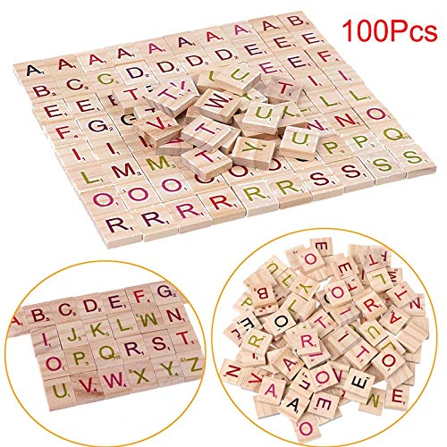 Party Favors - 100pcs Pack English Words Wooden Letters Alphabet Tiles Black Scrabble Numbers - Goodie Outer Prizes Noise Makers League Quality Educational Party Glow Dolls World Older Sh