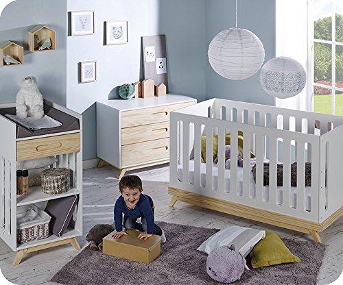Babyzimmer komplett Nino weiß und Kiefer Farbe