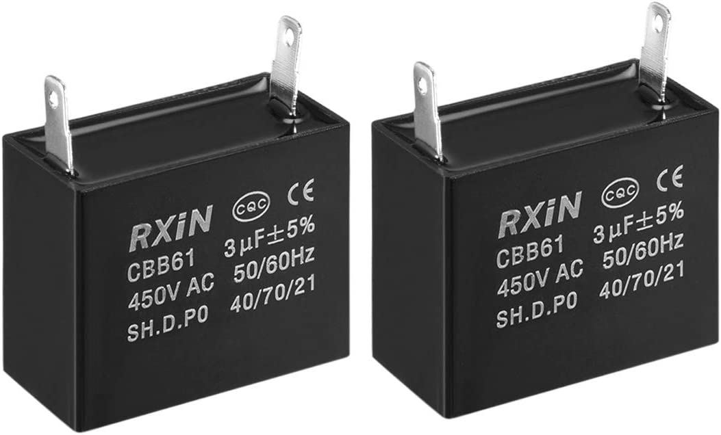 2pcs uxcell CBB61 Run Capacitor 450V AC 3uF Single Insert Metallized Polypropylene Film Capacitors for Ceiling Fan
