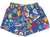 iscream Big Girls Silky Soft Print Plush Shorts - Groovy Patches, Medium