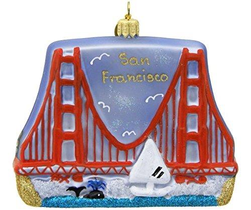 - Landmark Creations San Francisco Golden Gate Bridge European Glass Blown Christmas Ornament