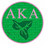 Alpha Kappa Alpha Sorority Mascot Round Decals, Official Licensed Greek Design, Measures 3.5' Round (Pink and Green)