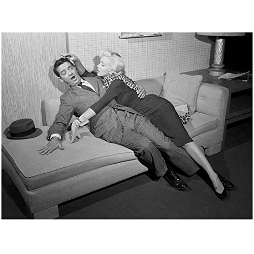 Marilyn Monroe 8x10 Photo Some Like It Hot The Seven Year Itch Gentlemen Prefer Blondes Leopard Spotted Scarf Trying to Kiss Man on Couch kn