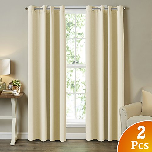Turquoize Innovative Microfiber 99% Blackout Curtains for Living Room/Bedroom Thermal Insulated Grommet Panels Drapes Window Curtain Draperies (Set of 2, 52 x 108 Inch, Beige) - Black Natural Curtain
