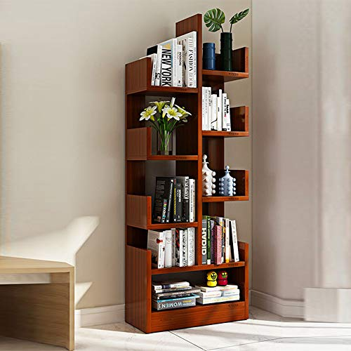Shelves MEIDUO 8-Shelf Tree Bookshelf, Modern Bookcase Book Rack Display Storage Organizer for CDs Records Books (Color : Teak ()