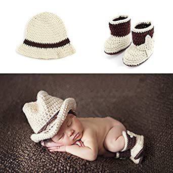 1 Pair Boots Newborn Baby Photography Props Cute Custome Crocheted Cowboy Hats