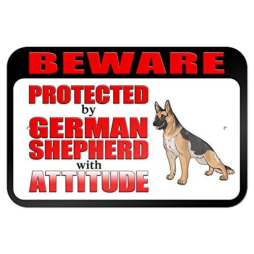 Beware Protected by German Shepherd with Attitude 9 x 6 Aluminum Sign Metal Signs Vintage Road Signs Tin Plates Signs Decorative Plaque bienternary