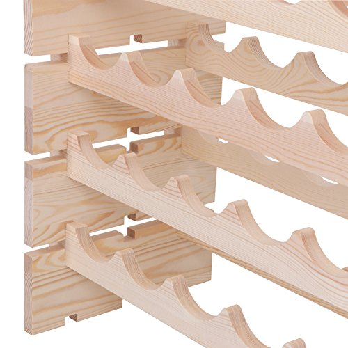 Smartxchoices 96 Bottle Stackable Modular Wine Rack Wooden Wine Storage Rack Free Standing Wine Holder Display Shelves, Wobble-Free, Solid Wood, (8 Row, 96 Bottle Capacity) (96 Bottle) by Smartxchoices (Image #5)