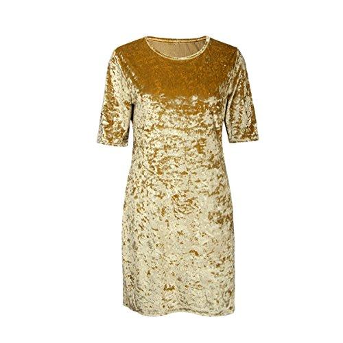Dresses Vivimos Summer Short Gold Short Sleeve R Mini Women Crushed Velvet zqdtwExOt