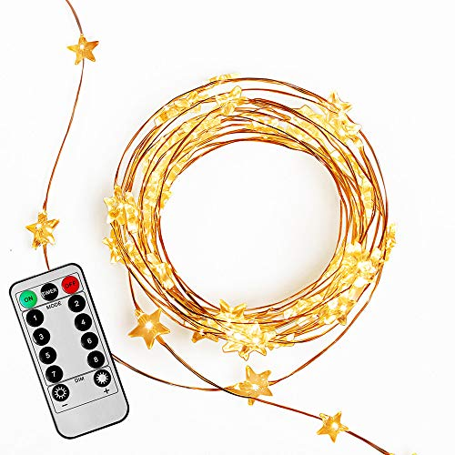 FAST DEER 16 Feet 50 Led Fairy Lights Little Stars Decorate Lights Battery Operated with Remote Control Timer Waterproof 8 Modes for Bedroom Indoor Outdoor Wedding Garden Parties (Warm White) ()