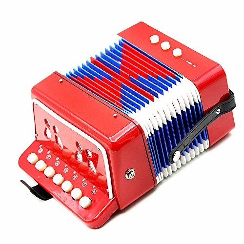 Andoer ® für Kinder 7 Tasten, 2 Bässe Mini kleines Akkordeon Educational-Bildung Musikinstrumente-Rhythmus-Band rot