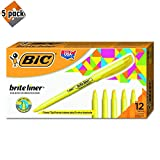 BIC Brite Liner Highlighter, Chisel Tip, Yellow, 12-Count - 5 Pack