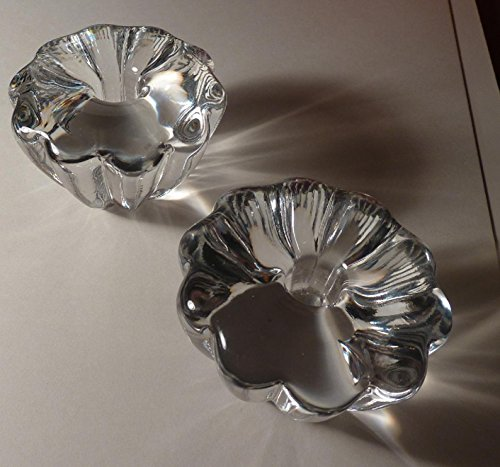 Pair - Orrefors - Sweden - Stella Crystal Candle Holder - Signed