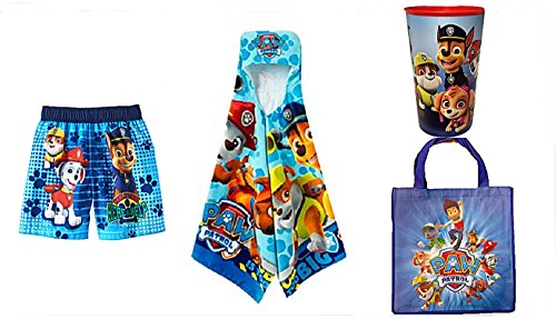 Paw Patrol Toddler Here to Help Boys Swim Trunks Hooded Towe