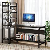 Computer Desk with Shelf, Tribesigns 2 Piece Study Writing Desk Table Workstation & 5-Tier Bookshelf Set, Office Desk for Home Office