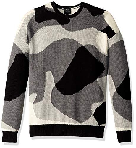 (A|X Armani Exchange Men's Abstract camo Print Pullover Sweater, BLACK/WHITE/B08/B50, L)