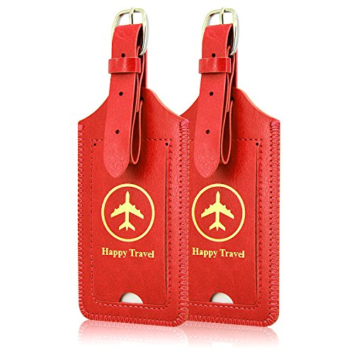[2 Pack]Luggage Tags, ACdream Leather Case Luggage Bag Tags Travel Tags 2 Pieces Set, Red