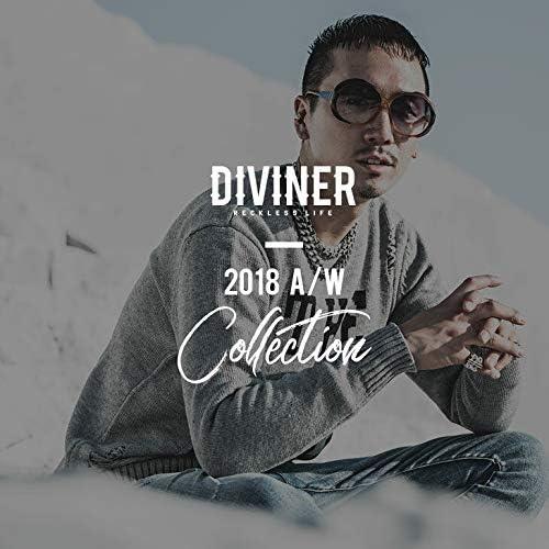 5Gダメージニット DIVINER メンズ 長袖 セーター クルーネック ロゴ