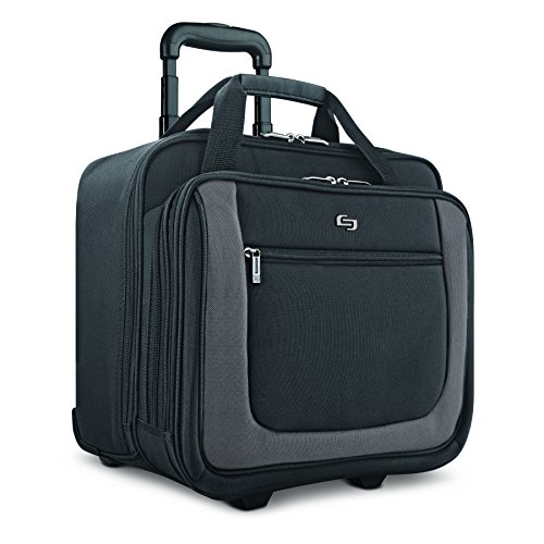 (Solo New York Bryant Rolling Laptop Bag. Travel-friendly Rolling Briefcase for Women and Men. Fits up to 17.3 inch laptop. Amazon Exclusive Color Black/Grey)