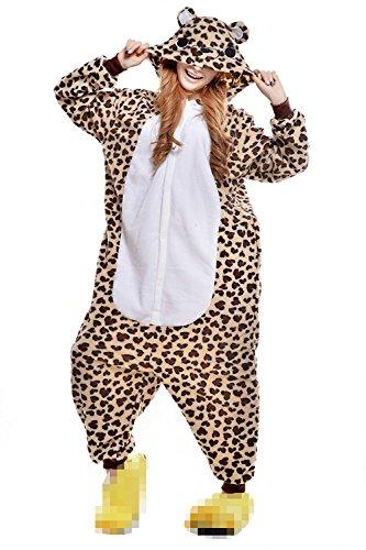 Ibeauti Unisex Adult Leopard Onesie Pajamas Sleepwear Hoodie Cosplay Costume (L, (Mens Leopard Onesie)