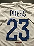 "Autographed/Signed Christen Press ""2015 WC Champs"" Soccer Team USA USWNT World Cup White Jersey JSA COA"