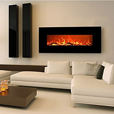 """EZcheer 50"""" Electric Fireplace Wall Mounted Heater Realistic Flame & Sound 1500w Adjustable Remote Control"""