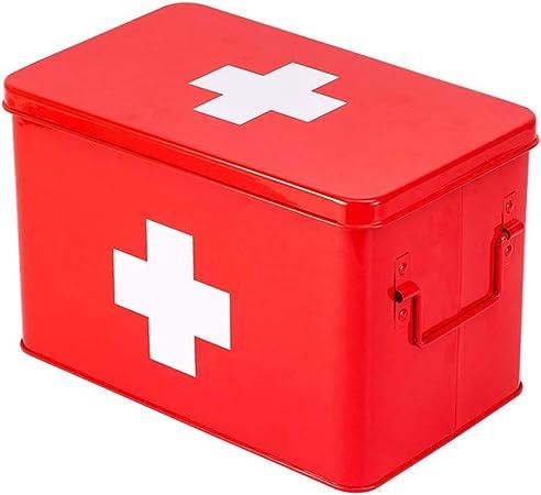 Cylficl Botiquín de primeros Medicina de metal Home Box caja de primeros auxilios, kit médico Hogar Maleta, Niño kit médico de emergencia (Color : Red): Amazon.es: Hogar