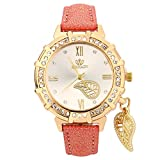 Triskye Womens Analog Quartz Watches Business Casual Classic Luxury Leaves Tower Rhinestone Pendant Leather Strap Band Round Trendy Wrist Watch Ladies Wristwatch Bracelet for Teen Girls