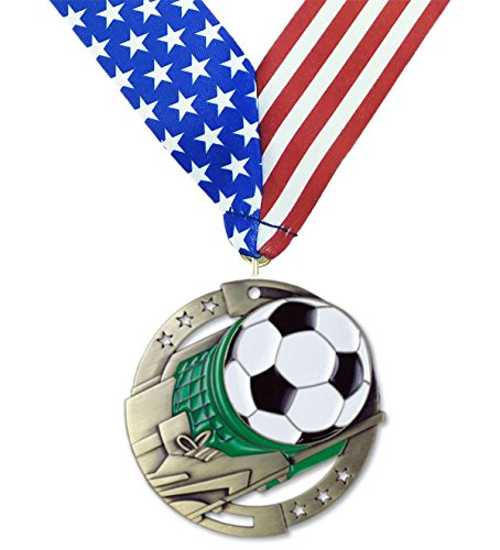 Gold Soccer M3XL Die Cast Medal - 2.75 Inches Wide - Comes with Exclusive Decade Awards Stars and Stripes American Flag V Neck Ribbon - Made of Strong Medal