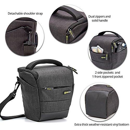 Camera Case, Evecase Digital SLR/DSLR Professional Camera Shoulder Bag for Compact System, Hybrid, Mirrorless, Micro 4/3 and High Zoom Camera - Black