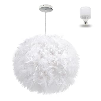 White feather ceiling pendant light shade large size 1575 inch white feather ceiling pendant light shade large size 1575 inch simple luxury white feather ball aloadofball Images