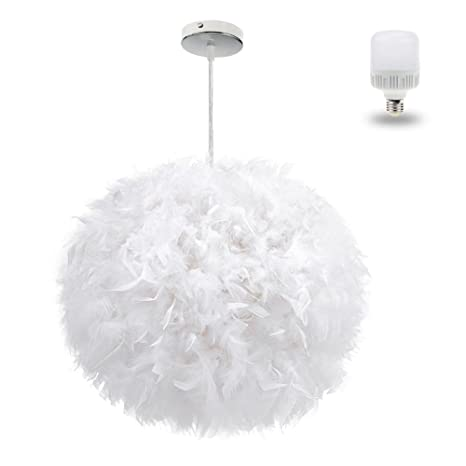 White Feather Ceiling Pendant Light Shade Large Size 1575 Inch