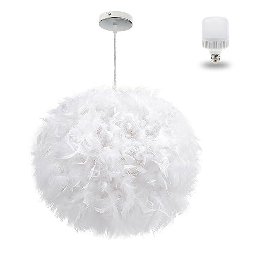 Amazon.com: Moderno lujo simple pluma blanca bola E27 araña ...