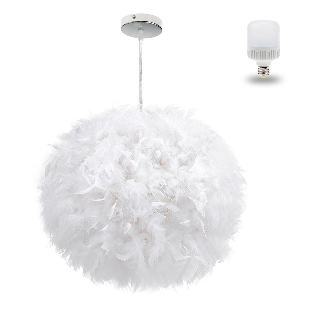 White Feather Ceiling Pendant Light Shade,  Large Size 15.75 Inch Simple Luxury White Feather Ball E27 Lampshade Floor Lamp Decorative Droplight Shade for Living Room Bedroom