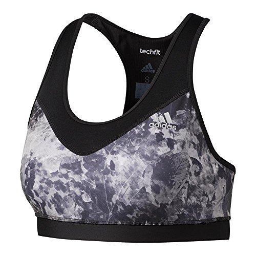 adidas Women's Training Techfit Bra, Black/Leaf Print, (Adidas Tennis Bra)