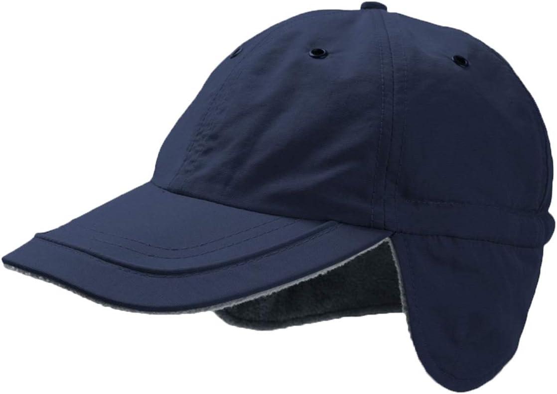TEC-FL-5 Casquette de baseball /à oreillettes doubl/ée de polaire et rev/êtue de Teflon Noir bleu marine rouge gris Pour sports dhiver ski snowboard
