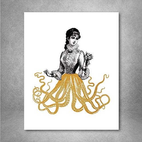 Gold Foil Art Print - Victorian Octopus Lady With Gold Foil Tentacles 8x10 inches