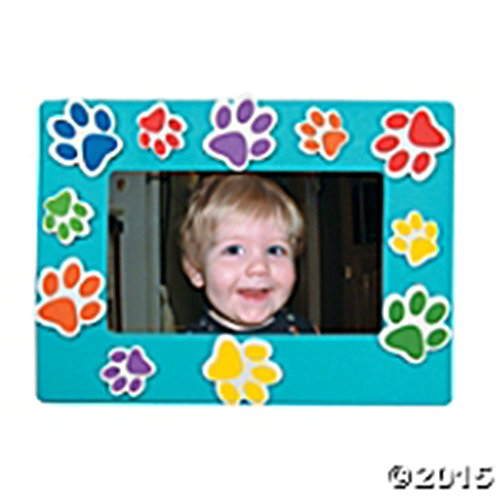 Set of 24 Paw Print Magnetic Magnet Picture Frame Craft Kit Red, Orange, Blue, Purple, Lime Green, Yellow (Foam Print)