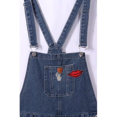 f2374d9f hot sale DenimFly Women's Vintage Distressed Denim Jumpsuit Overalls ...