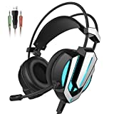 Image of Honstek G9 Gaming Headset, USB and 3.5mm Stereo Surround LED Lighting Vibration Headphones with Microphone and Volume Control, Compatible for Laptop PC Computer (Black/Silver)
