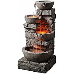 """Peaktop 201601PT Outdoor Garden Water Stacked Stone 3 Tier Bowls Waterfall Fountain with LED Light, 33"""" Height, Grey"""