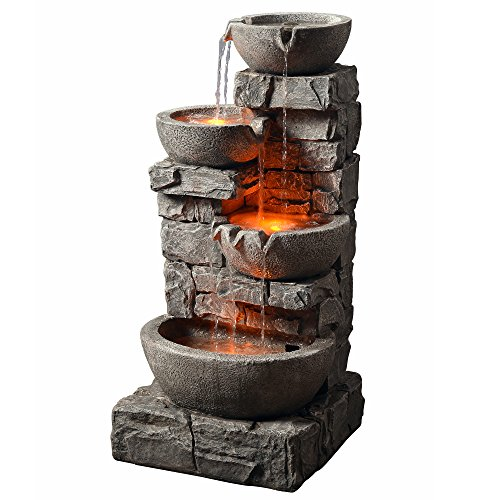 Fountain Rock - Peaktop 201601PT Outdoor Garden Water Stacked Stone 3 Tier Bowls Waterfall Fountain with LED Light, 33