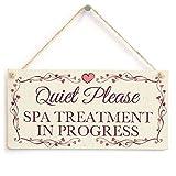 ACOVE Quiet Please Spa Treatment In Progress - Pretty Love Heart Frame Design Sign / Plaque 10''x5''
