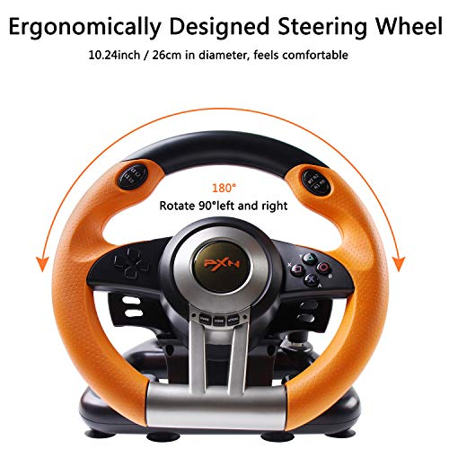 180 Degree Dual-Motor Vibration Driving Gaming Racing Wheel with Responsive Pedals for PC/PS3/PS4/XBOX ONE/Switch PXN-V3II (Orange) 51wfDjG4BiL